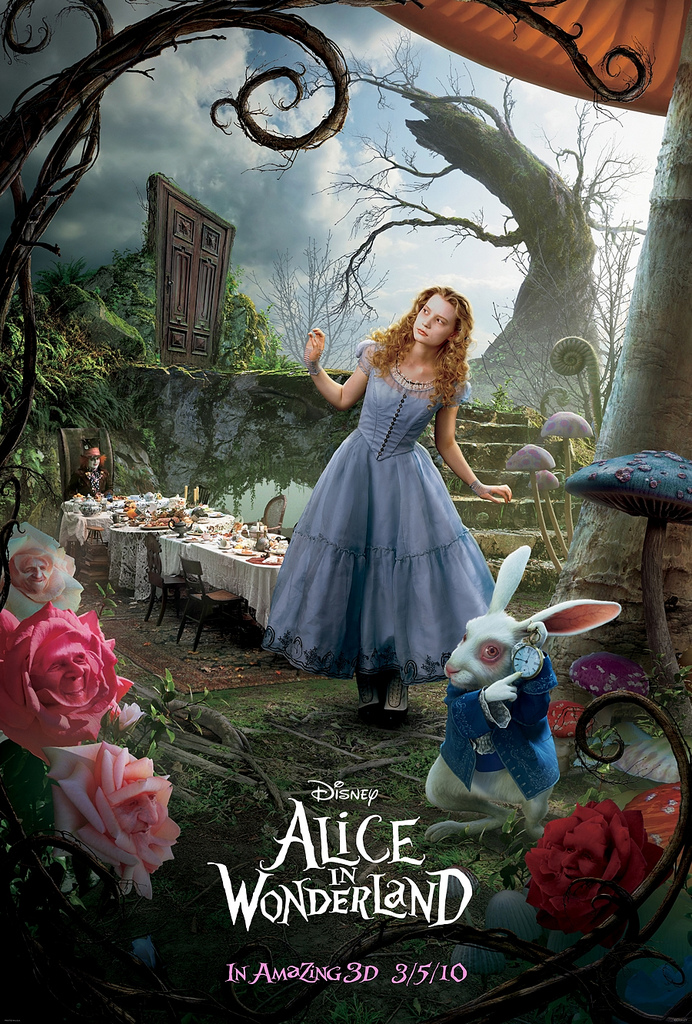Alice in Wonderland 2010 movie alice and the rabbit poster