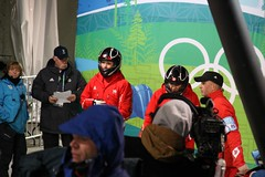 Women's bobsleigh CAN1 (Canada): Kaillie and Humphries Heather Moyse prepare to do their gold medal run (djtomdog) Tags: canada vancouver whistler womens olympics bobsled wintergames bobsleigh womensbobsleigh can1 whistlerslidingcenter kailliehumphries heathermoyse