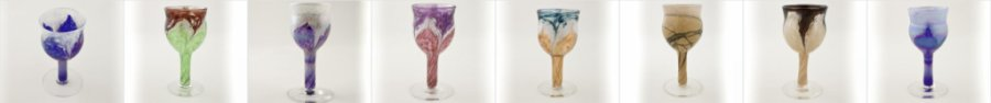 Mix and match Ron Hinkles beautiful hand crafted wine glasses. You  can create beautiful his and her style collections.