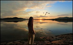 As You Depart From Me (The Dream Seeker.) Tags: sunset shadow woman color colour water girl monochrome look birds female self river photo alone looking guitar dream picture pic korea korean single distance dreamer