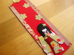 Bookmark with Origami Paper Doll - Kokoro (umeorigami) Tags: japan paper japanese origami doll handmade paperdoll papercraft washi ningyo chiyogami shioriningyo warabeningyo