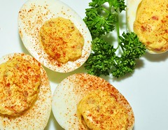 deviled eggs...with crumbled bacon