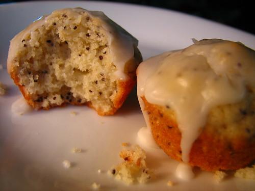 glazed mini poppy seed muffins