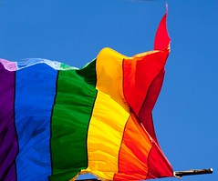 Glorious colours in the sunshine (Steve-h) Tags: blue ireland sky dublin macro colors inca canon lens eos europa europe raw colours flag banner eu 100mm southside gaypride incas musictomyeyes cameraraw 500d gayflag steveh flickraward canoneos500d lightroom2 platinumheartaward flickridol arealgem photoshopelements7 doubledragonawards ☆brilliantphotography☆ canonef100mmf28lmacroisusmlens flickraward5