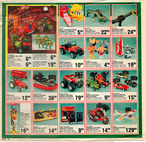 "Toys ""R"" Us - ' COWABUNGA- We've Got it for less!' { Colorado Springs TRU }  Sunday Newspaper supplement .. pg.2 (( October 21,1990 ))"
