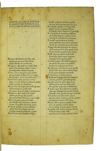 Incipit title from Dante Alighieri: La Commedia