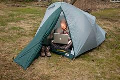Dork. (placenamehere) Tags: camping me apple boots joke tent wifi dork aapl anildash preorder ipad sb800 backyardcamping twitter macbookpro chriscasciano tamron1750mmf28 fanboi