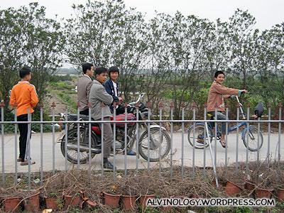 Gawking villagers