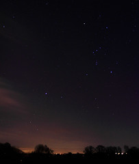 Orion from Ross (Queenofcalamity) Tags: uk trees silhouette stars orion nightsky constellation rossonwye canon500d canon1755mm