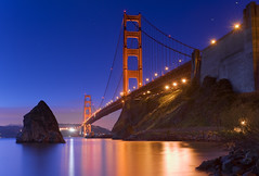 Golden Gate Bridge - Fort Baker (David Shield Photography) Tags: sanfrancisco longexposure bridge light color reflection water dawn bay goldengatebridge bayarea sausalito fortbaker superaplus aplusphoto flickraward platinumpeaceaward