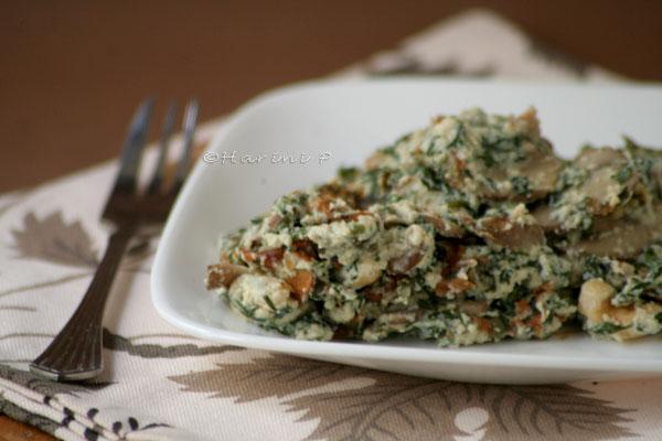 Tofu mushroom spinach layer