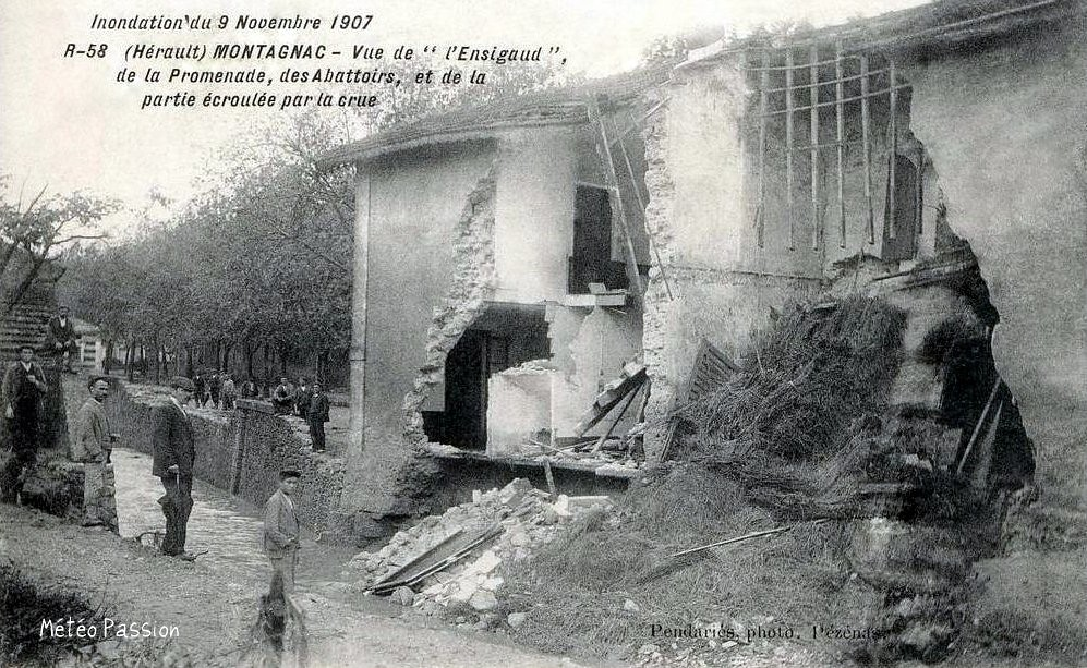 dégâts de la crue du 9 novembre 1907 à Montagnac