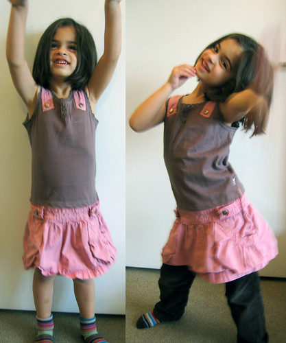 brown shirt & pink skirt to dress