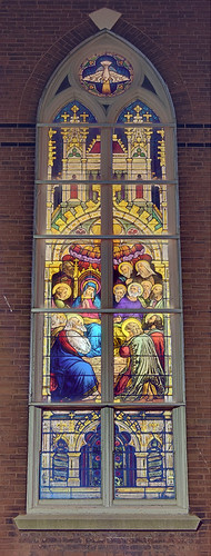 Saint Agatha Roman Catholic Church, in Saint Louis, Missouri, USA - stained glass window of Pentecost
