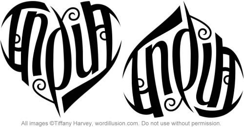 """India"" Heart Ambigram"