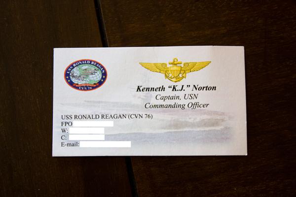 USS Ronald Reagan business card