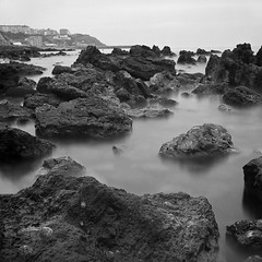 Long Exposure #4 (Rich1078346) Tags: morning sea 120 tlr film misty square rocks long exposure 124g ventnor roll 50 isle ilford wight iow yashicamat steephill panf castlecove