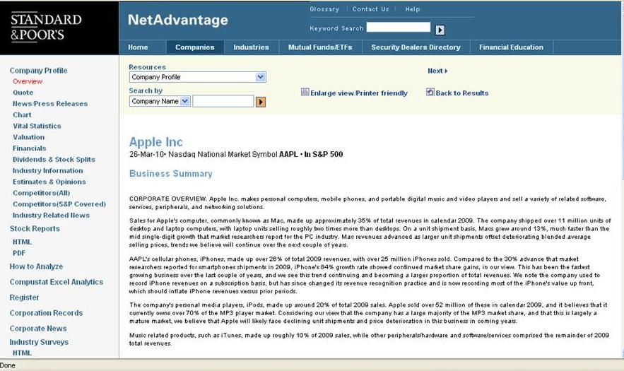 Standard and Poor's NetAdvantage