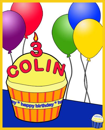 Colin Alexander's 3rd Birthday Cupcake