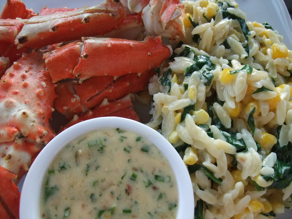 Crab with a Beurre Blanc and Corn-Spinach Orzotto