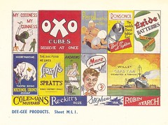 Miniature posters sheet 1 - c1950 (mikeyashworth) Tags: mars sign advertising poster guinness oxo persil colmansmustard spratts exide ronsonol stephensink nationalsavings robinstarch reckittsblue miniatureposters willscapstan andrewsliversalts mikeashworthcollection