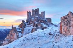 Castle's ruins under the snow (filippo rome) Tags: winter sunset italy snow castle italia middleages hdr abruzzo calascio roccacalascio italiamedievale bellabruzzo
