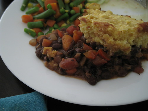 black bean tamale pie closeup