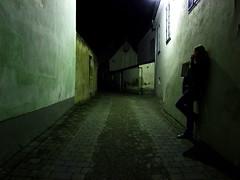 Dark Street (C_MC_FL) Tags: street black girl wall night dark person photography lights austria sterreich women waiting fotografie nacht wand spooky fujifilm frau smoker schwarz niedersterreich mdchen dunkel lichter nachtaufnahme raucher gasse warten eggenburg unheimlich nachtaufnahmen strase atmosperic s100fs gettyimagessalq1
