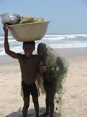Boys Going Back to Fishing Village (Peter Schnurman) Tags: boys ghana coconuts childlabor capecoast thirdworld fishingnets developingworld