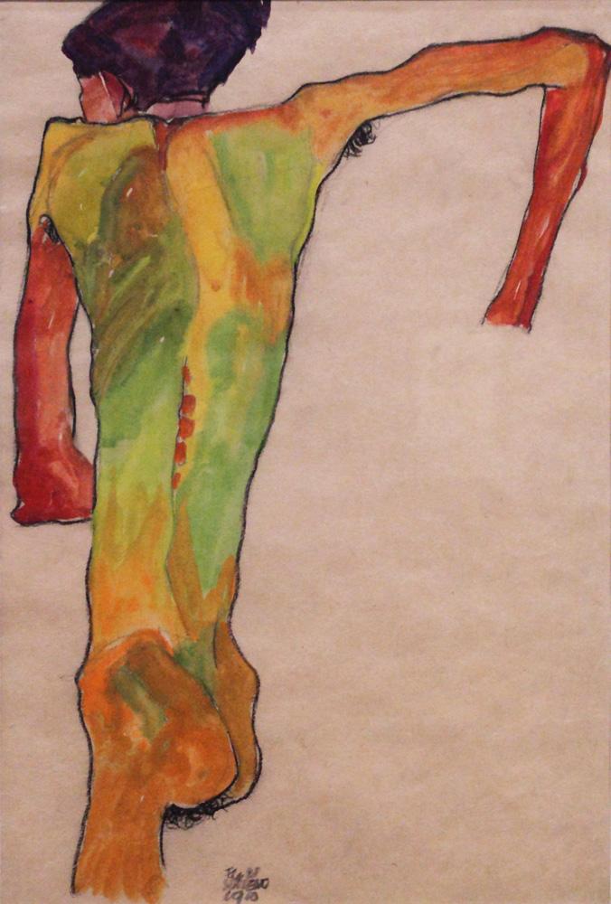 Egon Schiele, Sich aufstützender Rückenakt [Nude (Back View)], 1910