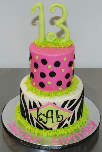 Zebra & Polka Dots Birthday Cake