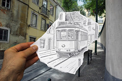Pencil Vs Camera - 4 (Ben Heine) Tags: life street city urban art portugal lines architecture composition buildings paper buzz photography sketch vanishingpoint movement poem hand time nikond70 drawing mixedmedia finger lisboa lisbon main 4 transport creative tram dessin legendary creation doigt improvisation rails reality imagination walls publictransport dimension rue flickrblog opticalillusion imagen hlm murs croquis carreira miseenabyme elctrico number4 theartistery tram28 miseenabme pointdefuite petersquinn mywinners benheine drawingvsphotography 2dvs3d traditionalvsdigital pencilvscamera miseenabysme diasecprint