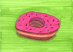 Pink Frosted Donut (Homemade Pop) Tags: art artwork artist folkart outsiderart folk originalart contemporary drawings pop popart homemade marker prints prismacolor foodart doodling 5x7 magicmarker foodpackaging pilotpen cheapart retroart brightart originalillustration quirkyart
