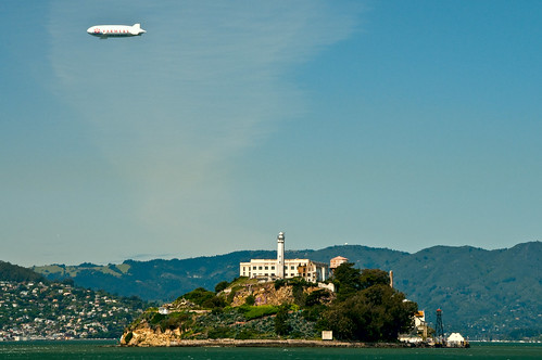 Zeppelin over Alcatraz by LimeWave Photo
