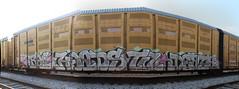 rail heads til death (No Real Name Given.) Tags: railroad art train bench death graffiti stitch pano rail panoramic heads rails boxcar stitched freight til autorack benching
