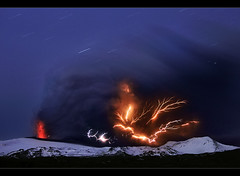 Wrath of Hell - Eyjafjallajkull Eruption (orvaratli) Tags: longexposure cloud snow landscape volcano lava iceland flames glacier bolt ash volcanic thunder eruption magma rsmrk katla icelandic lightnings eyjafjallajkull eyjafjallajokull hvolsvllur fimmvorduhals arcticphoto fimmvruhls rvaratli orvaratli