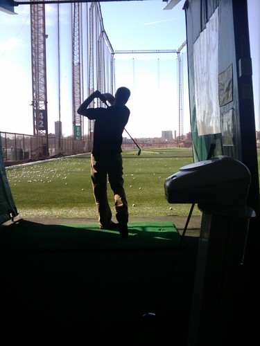 Jason golfing at Chelsea Piers