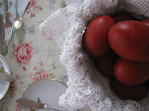 eggs dyed for easter with onions
