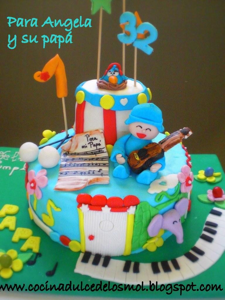 1 POCOYO CAKE-TARTA POCOYO MUSICAL ANGELA Y PAPA