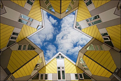 star shaped sky (heavenuphere) Tags: sky netherlands architecture star rotterdam europe nederland lookingup 1022mm zuidholland cubehouses cubichouses kubuswoningen southholland pietblom