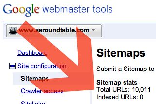 Sitemaps indexed URL count showing zero indexed URLs