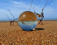 Houlgate beach through the crystal ball (april-mo) Tags: blue mer seascape ball crystal sphere surrealist normandy kugel glasswork crystalball houlgate spheric magicball bouledecristal shinyball plagenormande nonopticalglass houlgatebeach