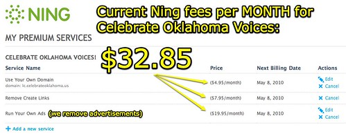 Our Ning fees currently (May 2010)