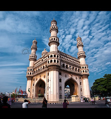 .The.Magnificent. (.krish.Tipirneni.) Tags: morning blue india architecture clouds three nikon sunday center structure ap photowalk stitching hyderabad crossroads oldest magnificent hpc heritagewalk charminar newcity sanat andhrapradesh hws qutubshahi 400years photostitching 18200vr d80 laadbazar vertorama
