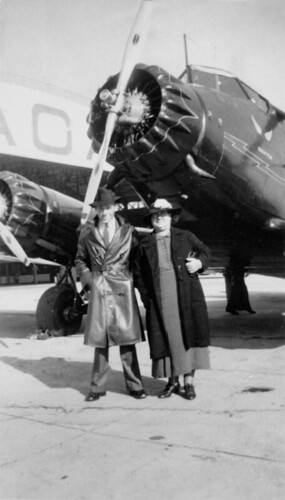 S. Shepherd and mother at Archerfield Aerodrome, 1939