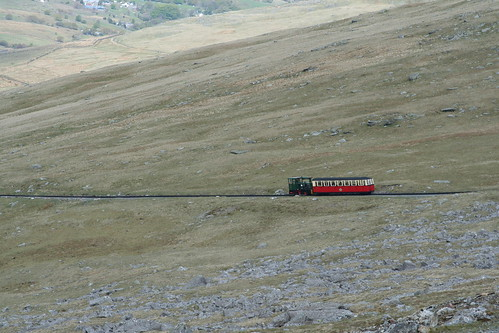 Snowdon mountain Railway Hunslet in the scenery