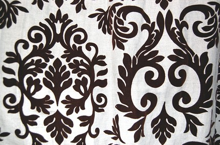 Brown Linen drapes velvet print1