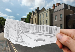 Pencil Vs Camera - 18 (Ben Heine) Tags: road street city uk houses windows england people architecture danger buildings vanishingpoint 3d nikon risk hole d70 pavement path walk surrealism grain perspective philosophy route walkingstick oxford series manhole 18 2d rue prevention depth opticalillusion threat marche menace trou trottoir anotherworld urbanlandscape ignorance individualism artistery blindman égout batiments theartistery grandbretagne number18 benheine drawingvsphotography traditionalvsdigital flickrunitedaward pencilvscamera imaginationvsreality cannedaveugle