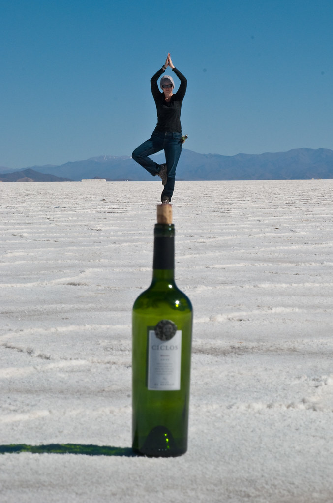 Doing Yoga on the salt flats