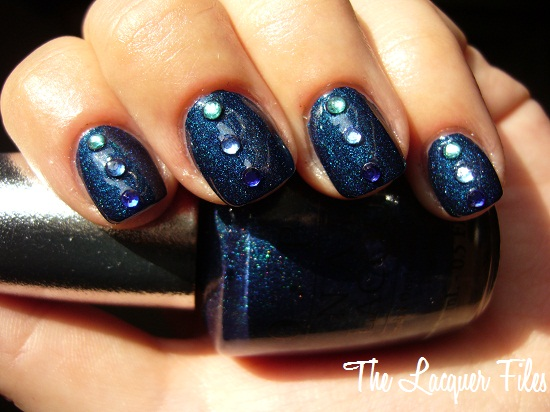 OPI Designer Series Fantasy Blue Shimmer Rhinestones Nail Art